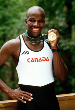 Canada's 2nd most famous athlete: Donovan Bailey celebrates the gold medal