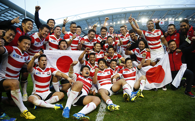 Rugby Union - South Africa v Japan - IRB Rugby World Cup 2015: Japan celebrate another victory.